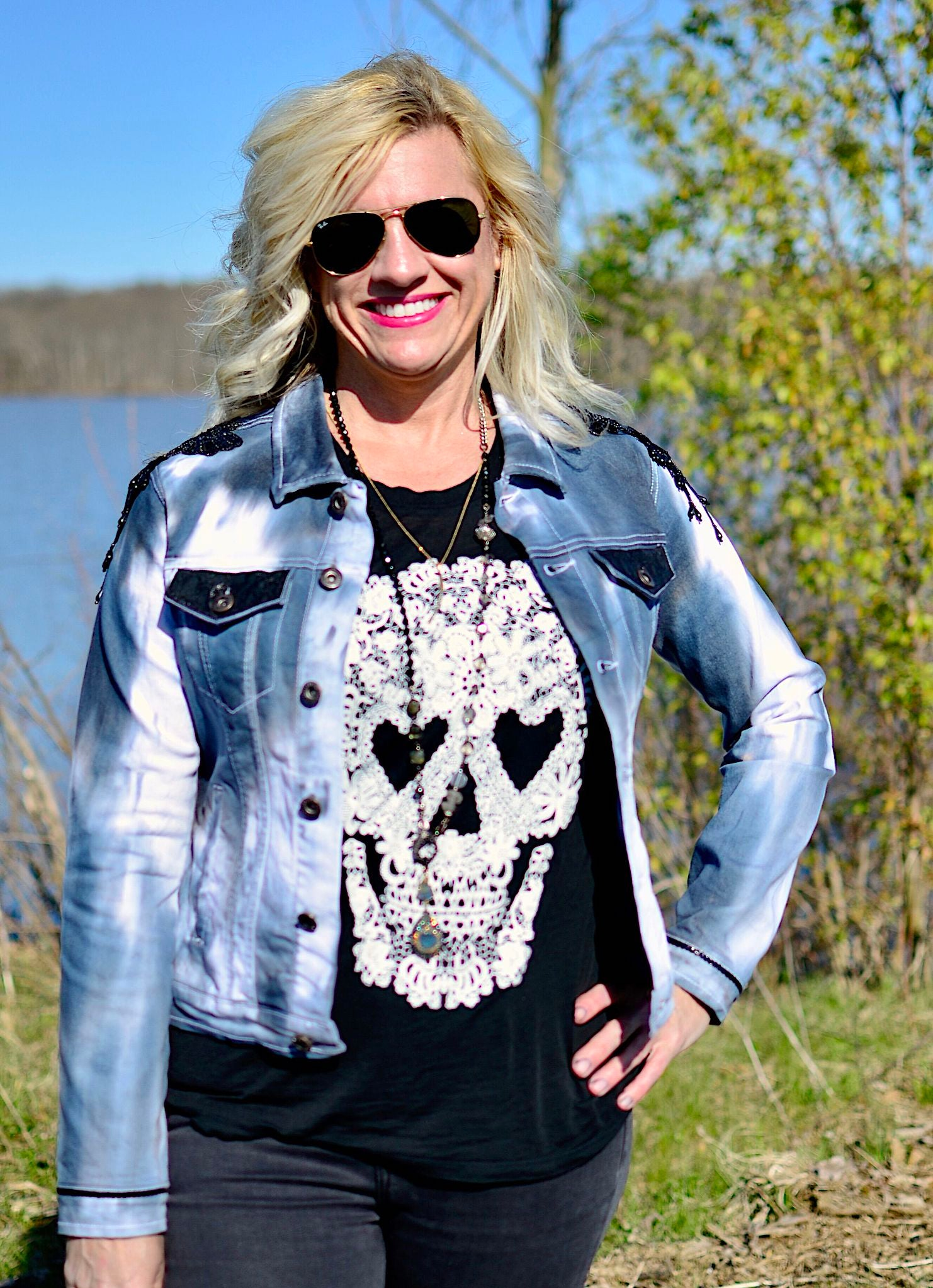 Black and White Hand-Dyed Denim Jacket