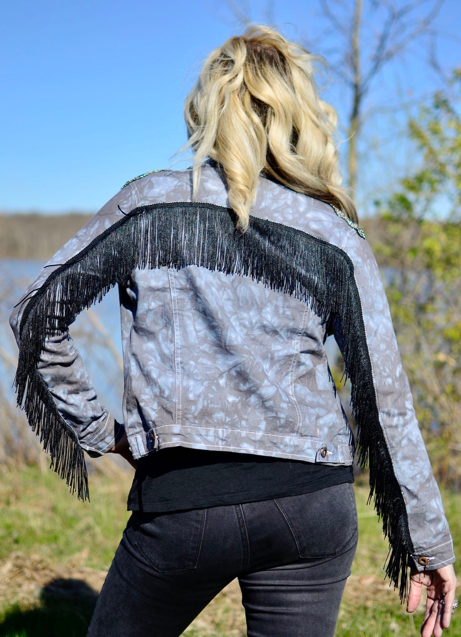 Hand-Dyed Denim Jacket with Fringe -