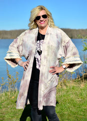 Hand Dyed Boho Kimono in Mocha with Sequins - Dyetology