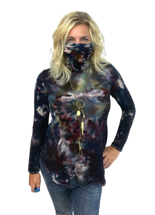 "Modern Turtleneck-Mask Tunic Top in "" A Night Out"" - Top - Dyetology"
