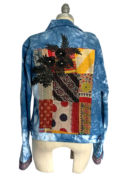 "Large Indigo and White Hand-Dyed Denim Jacket -""Kantha"""
