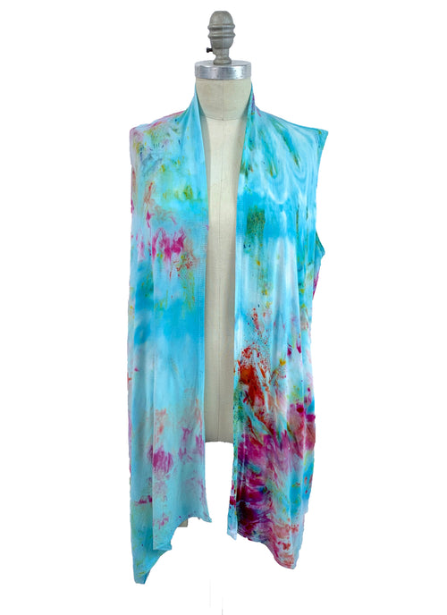 "Hand Dyed Drape Front Vest in ""Key West"" - Dyetology"