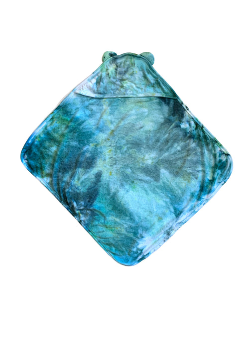 "Hand-Dyed Hooded Bath Towel in ""Sea Glass"""