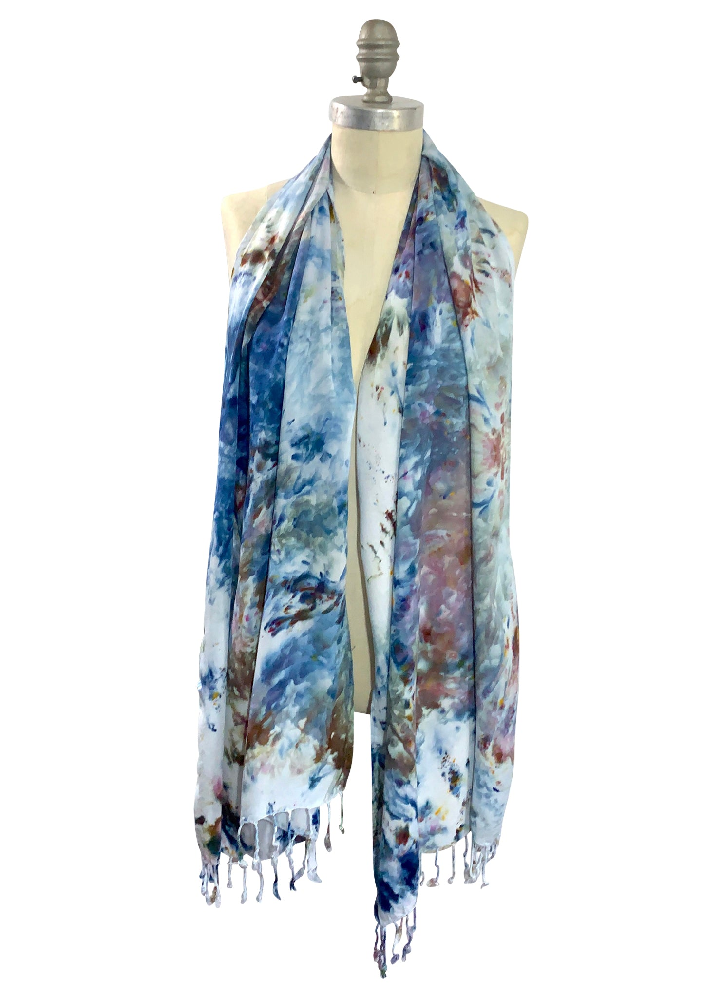 Oblong Scarf with Fringe in Meadow -  - Dyetology