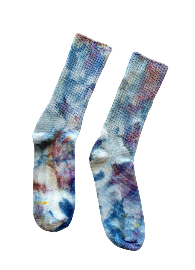 Hand Dyed Bamboo Rayon Crew Socks - Meadow - Dyetology