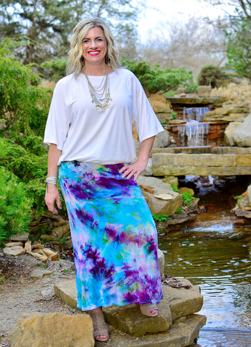"Hand Dyed Knit Maxi Skirt in ""Monet's Garden"""