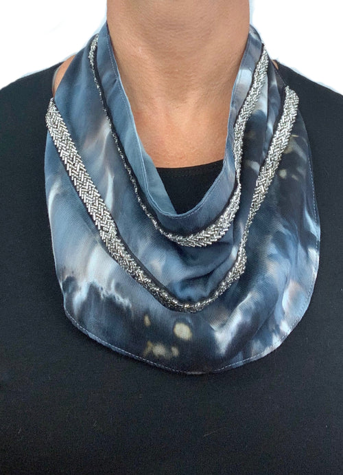 "Scarf Necklace in ""Moon Stone"" with Silver Herringbone Beading - scarf necklace - Dyetology"