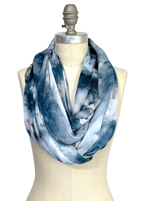 black and white tie dyed infinity scarf