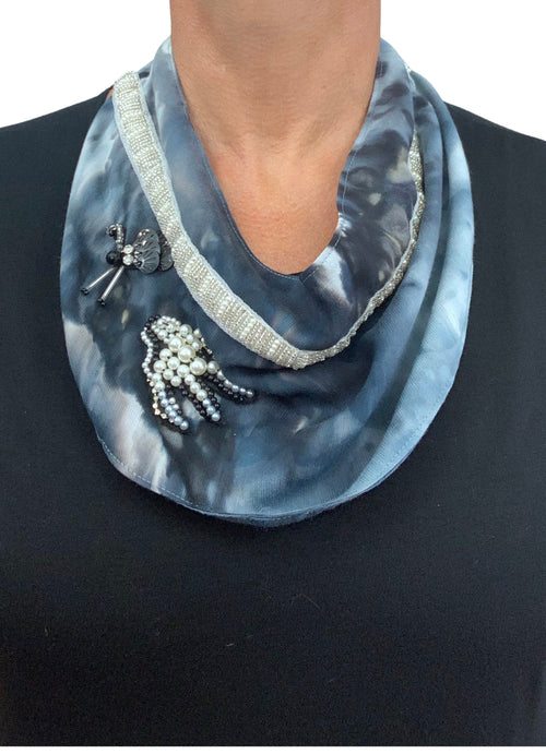 "Scarf Necklace in ""Moon Stone"" with Beaded Birds - scarf necklace - Dyetology"