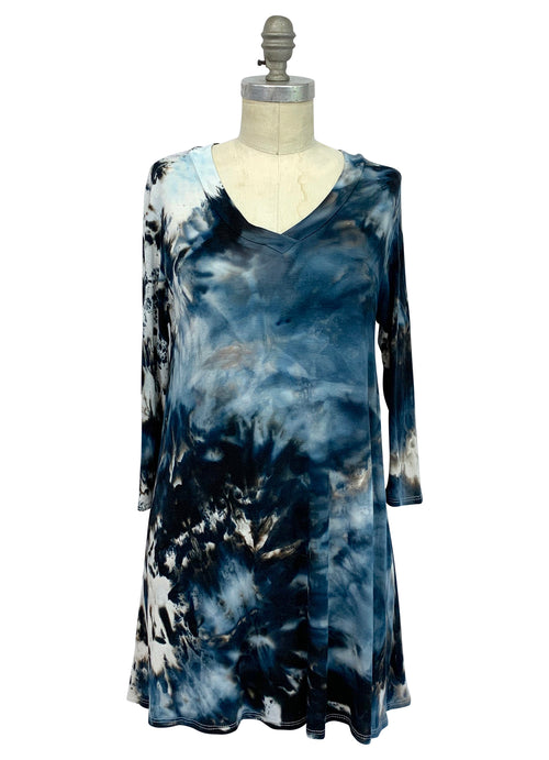 "V Neck Tunic in ""Moon Stone"" - Top - Dyetology"