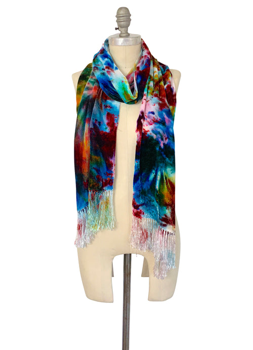 Silk Rayon Velvet Scarf with Fringe in Mosaic - Velvet Burnout Scarf - Dyetology