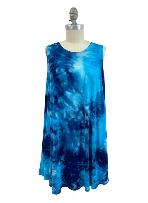 "Hand Dyed A-Line Tunic Tank in ""Ocean"" - Dyetology"