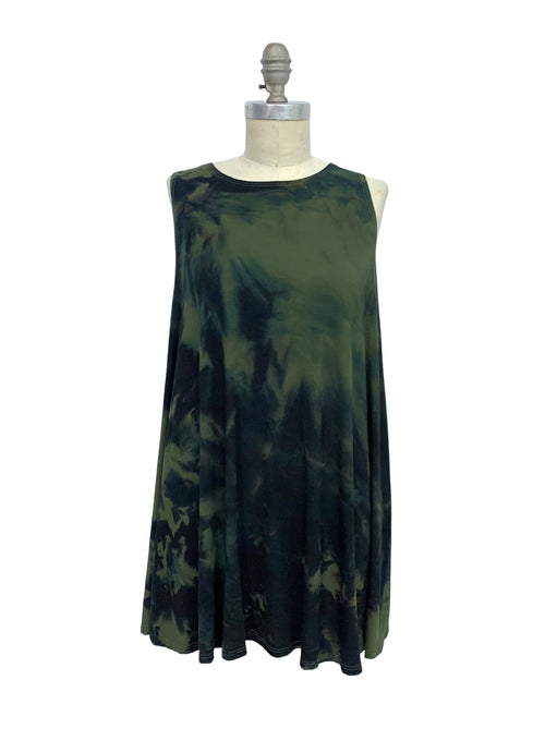 A-Line Tunic Tank in Olive & Black - Dyetology