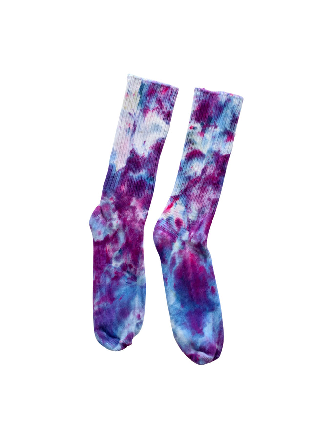 Hand Dyed Bamboo Rayon Crew Socks- Perfect Purples - Dyetology
