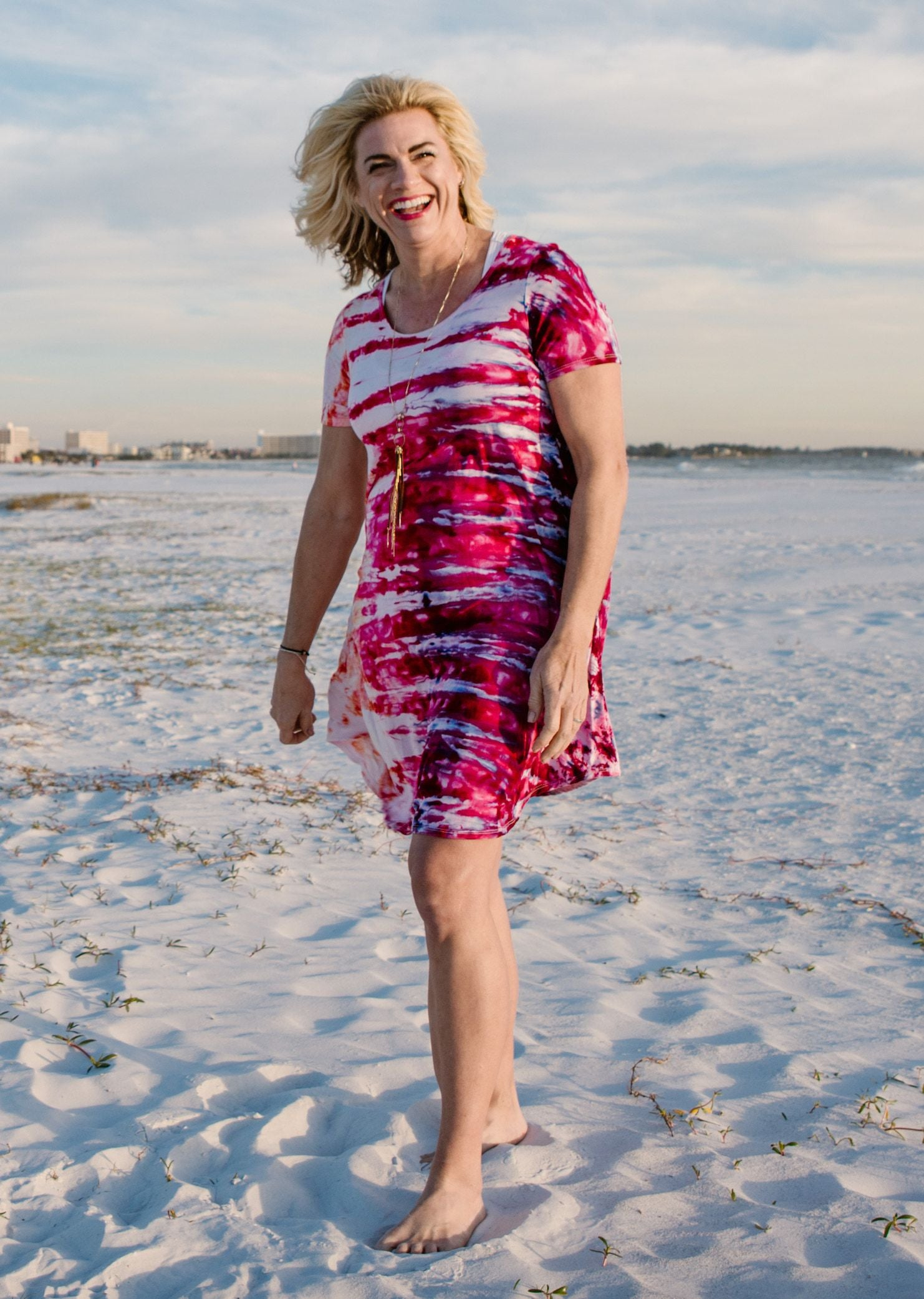 The Perfect Short Sleeve Dress in Flamingo - Dress - Dyetology