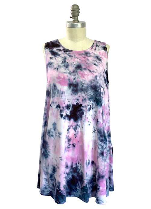 A-Line Tunic Tank in Pinks and Black - Top - Dyetology