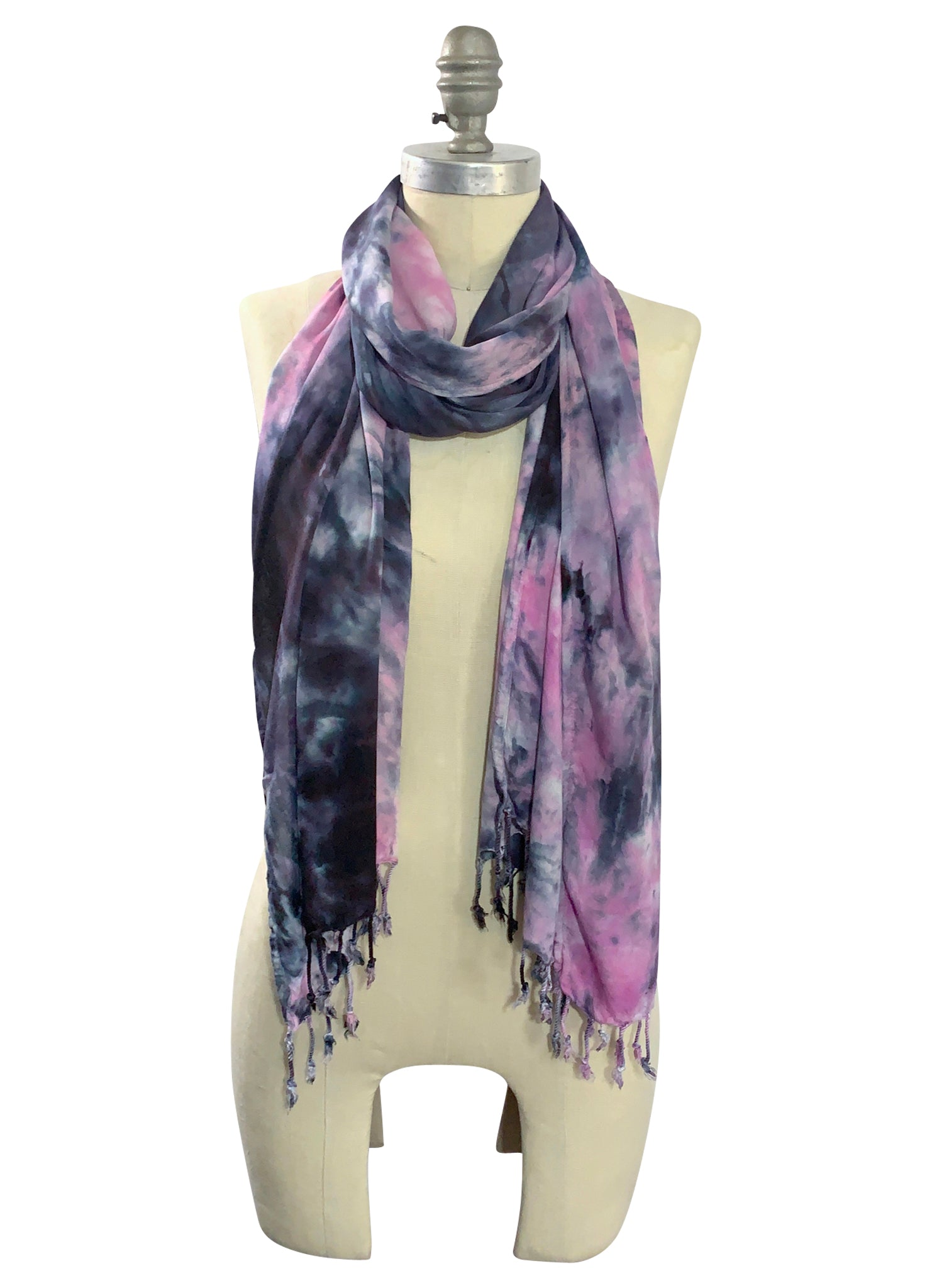 Oblong Scarf with Fringe in Pinks and Black -  - Dyetology