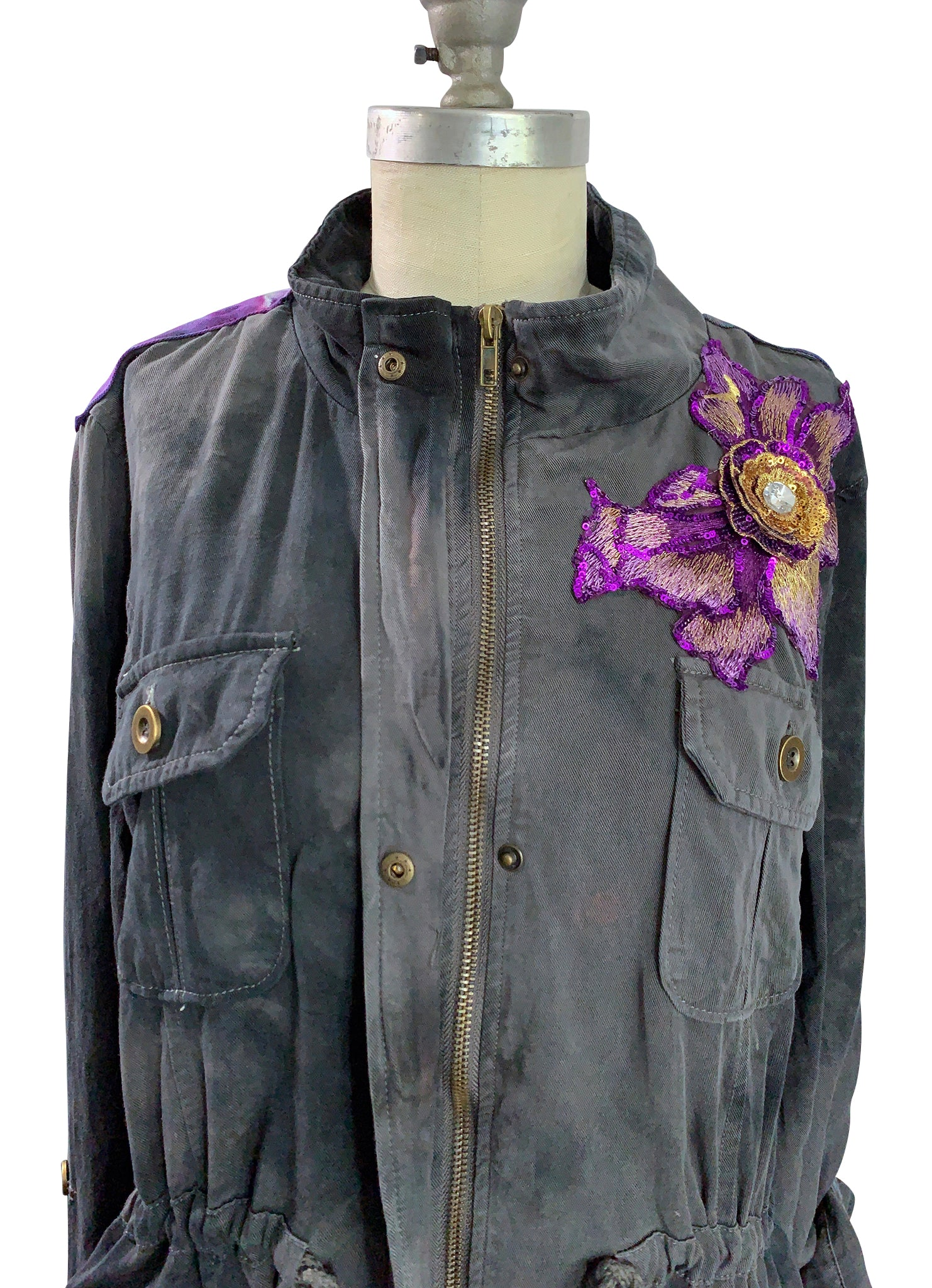 X- Large Hand-Dyed Tencel Utility Jacket -