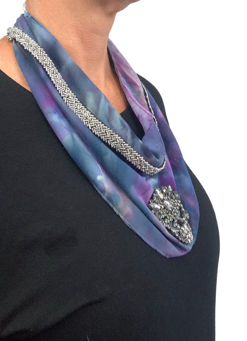 "Scarf Necklace in ""Lilac Storm"" with Beaded Skull - scarf necklace - Dyetology"