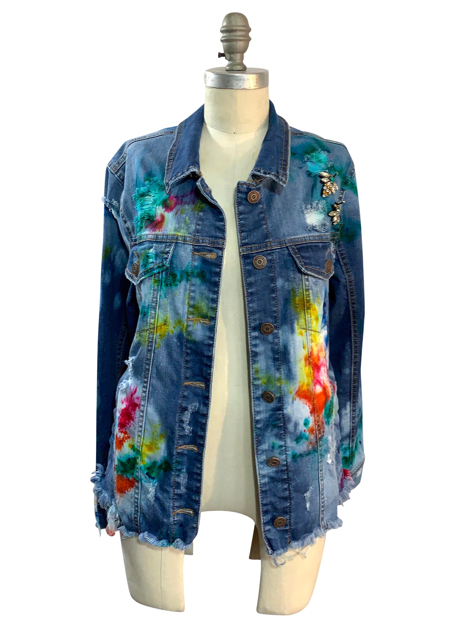 Multicolored Hand-Dyed Denim Jacket  -