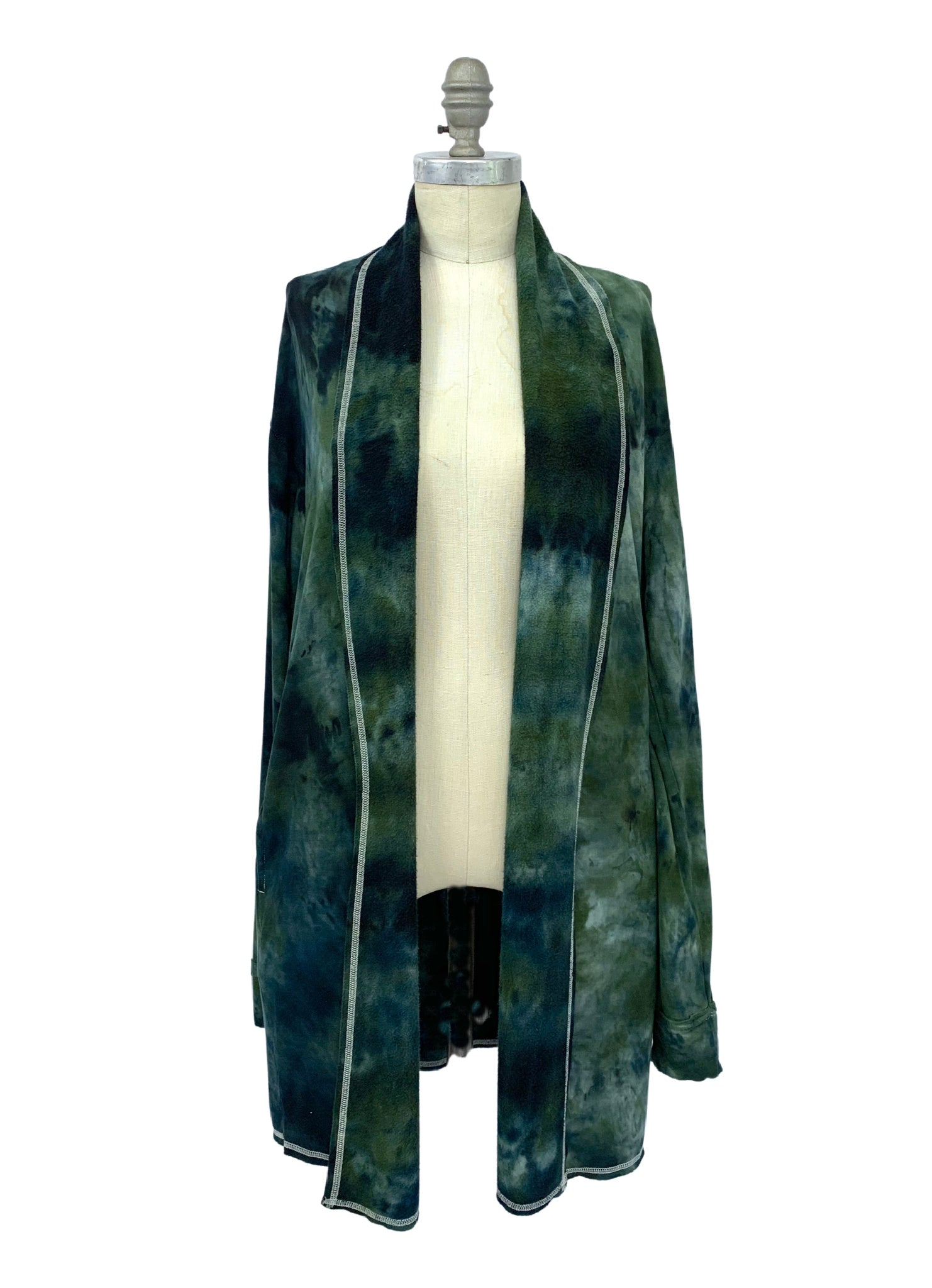 Hand Dyed Easy Rayon Fleece Jacket with Pockets -