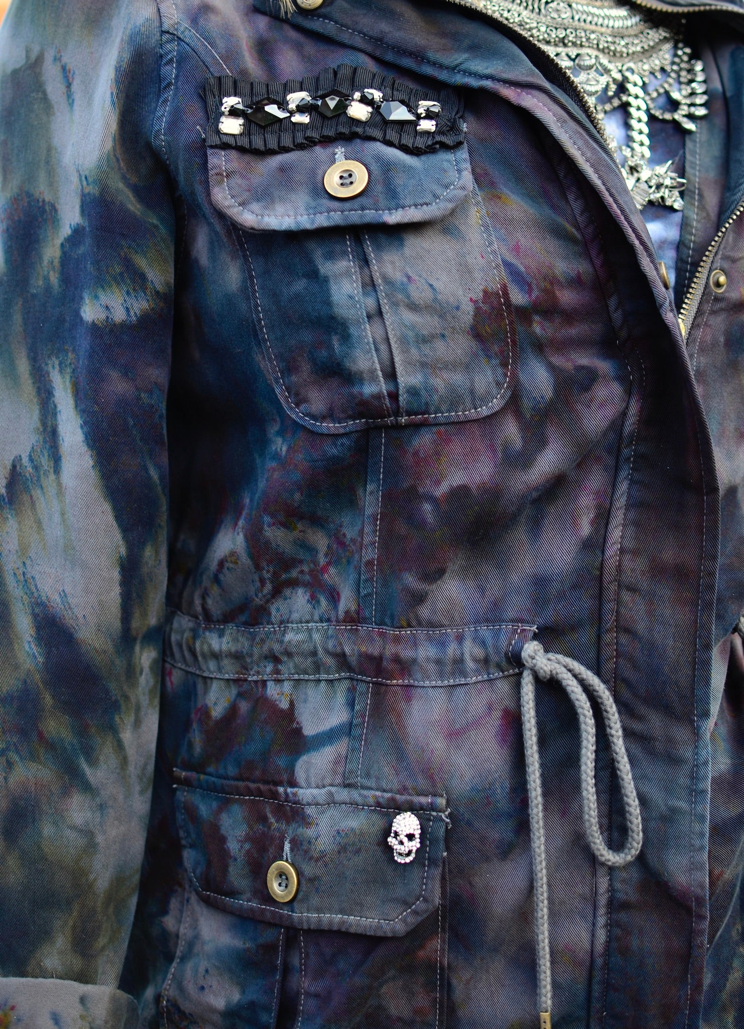 Large Hand-Dyed Tencel Utility Jacket -