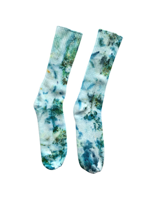 Hand Dyed Bamboo Rayon Crew Socks- Sea Glass - Crew Socks - Dyetology