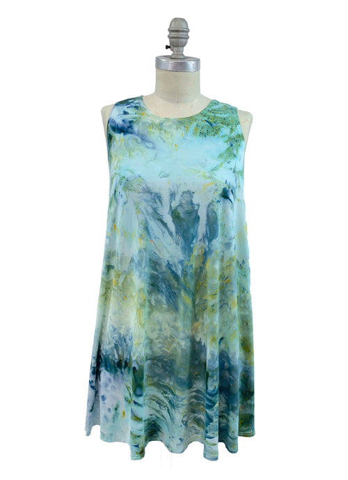"Hand Dyed A-Line Tunic Tank in ""Sea Glass"" - Dyetology"