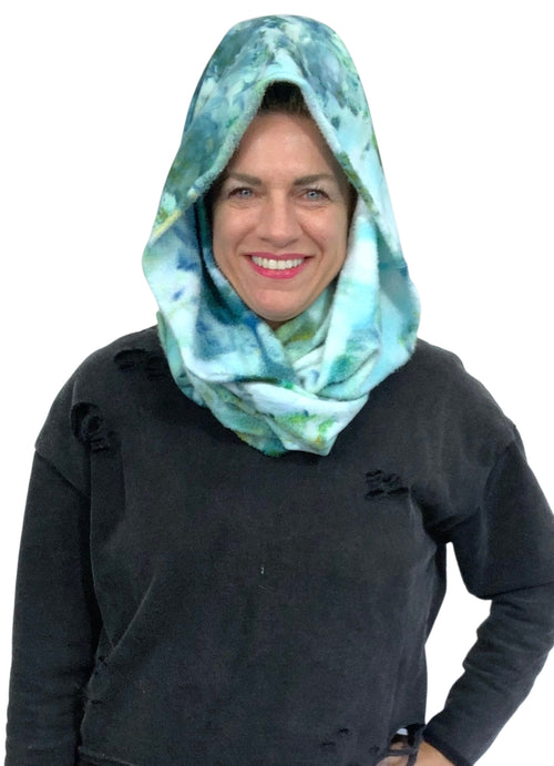 "Hand Dyed Bamboo Fleece Scarf in ""Sea Glass"" - Dyetology"