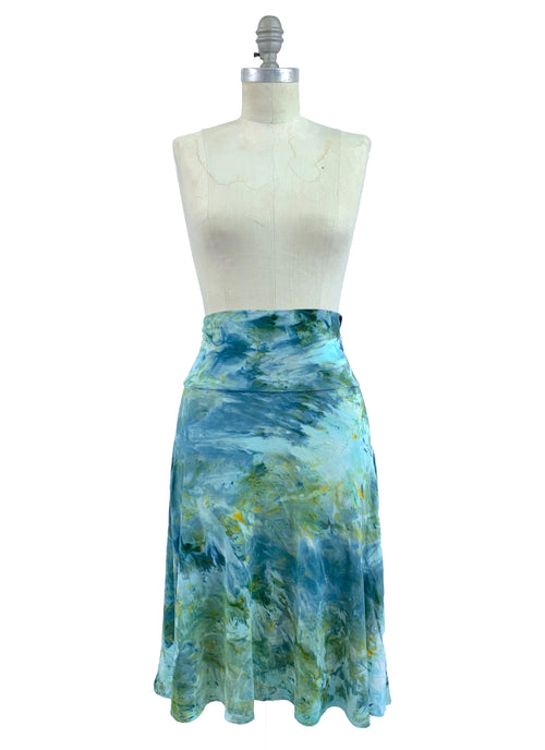"Hand Dyed Knit Knee-Length Skirt in ""Sea Glass"" - Limited Release"