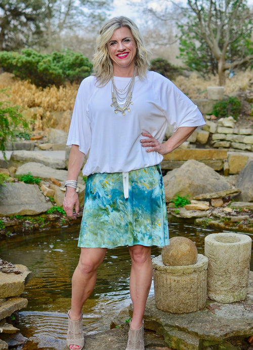 "Hand Dyed Knit Knee-Length Skirt in ""Sea Glass"" - Limited Release - Dyetology"