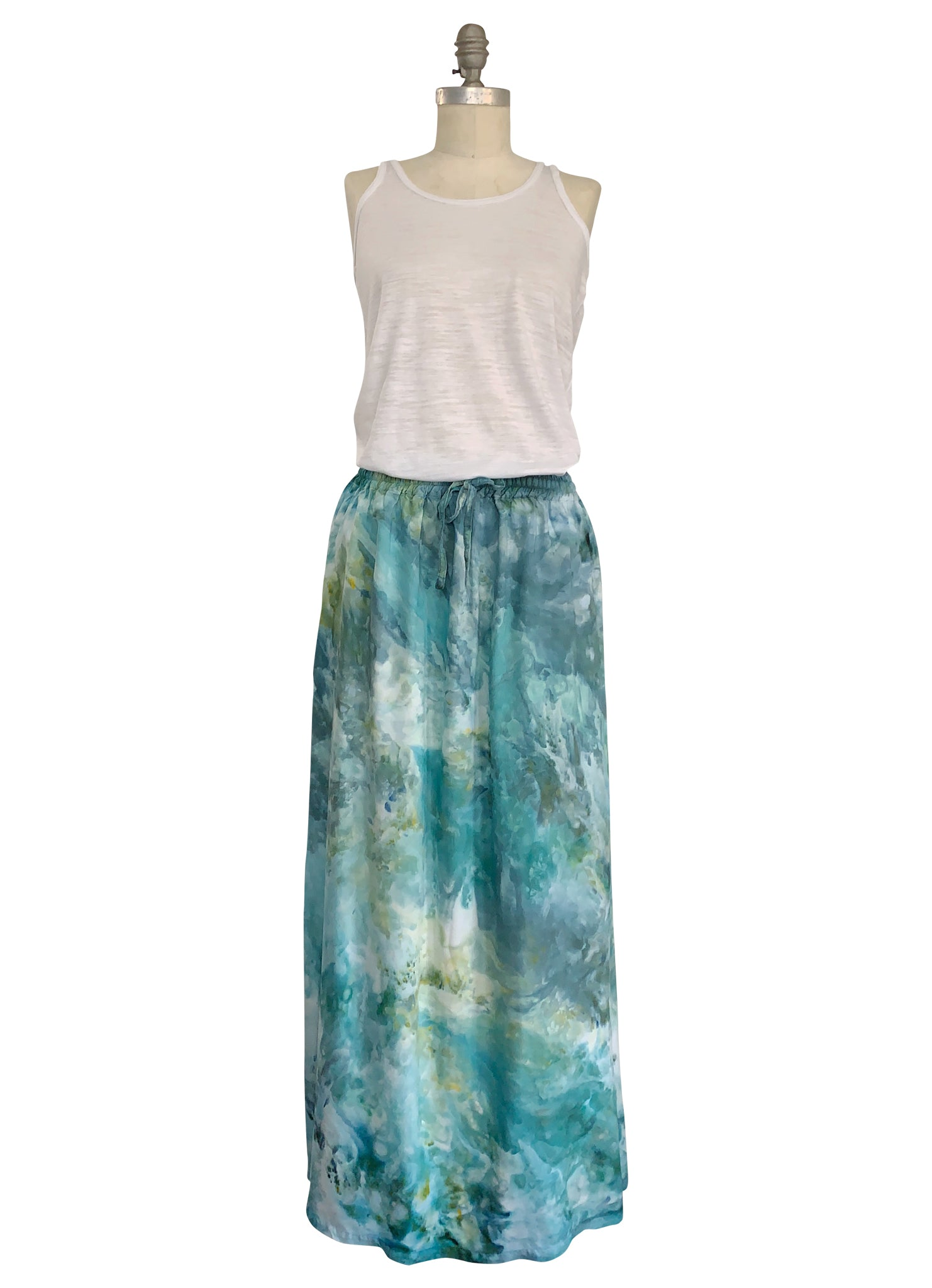 Maxi Skirt with Pockets in Sea Glass -  - Dyetology