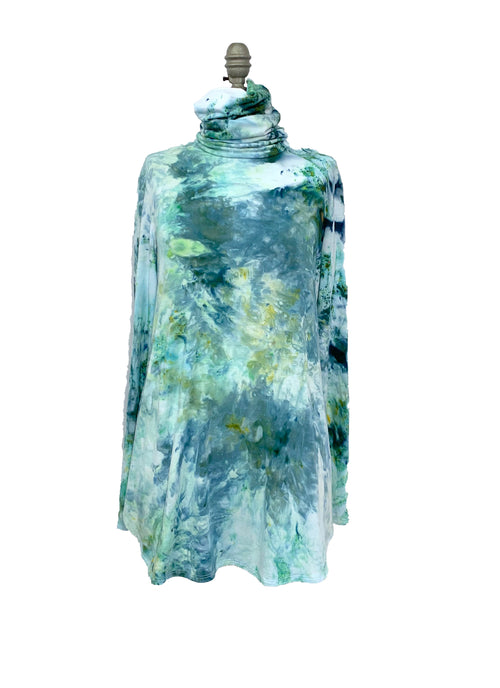 "Modern Turtleneck-Mask Tunic Top in "" Sea Glass"" - Dyetology"