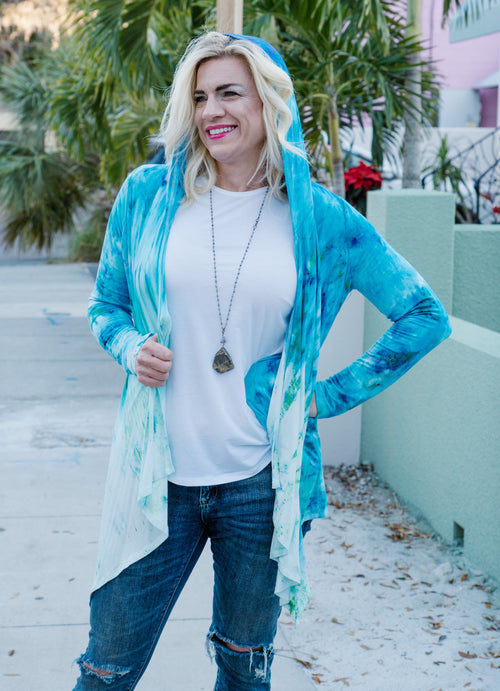 Drape Front Hoodie in Bahama Mama - Top - Dyetology