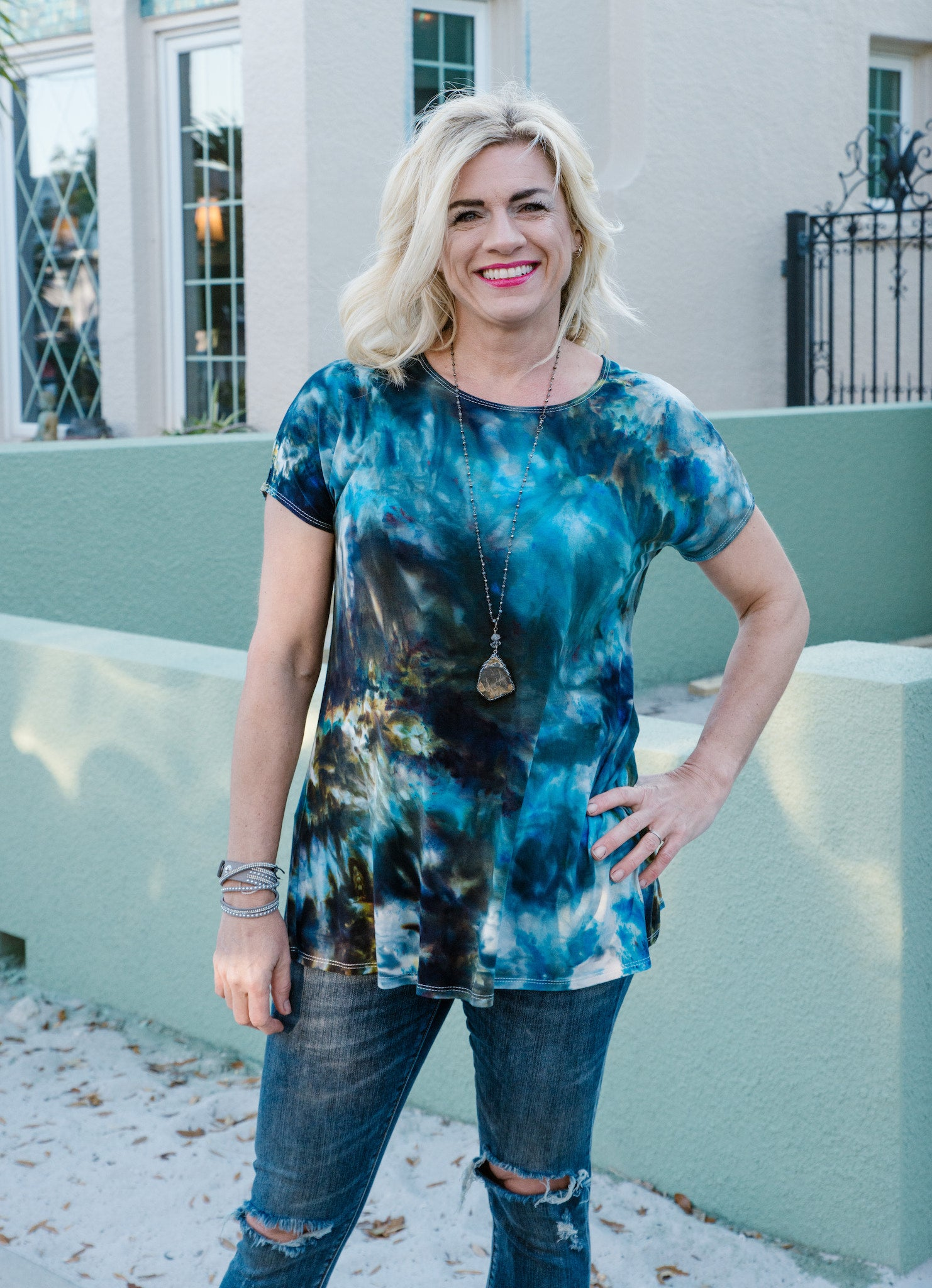 Short Sleeve Knit Tunic in Blue Morpho - Top - Dyetology