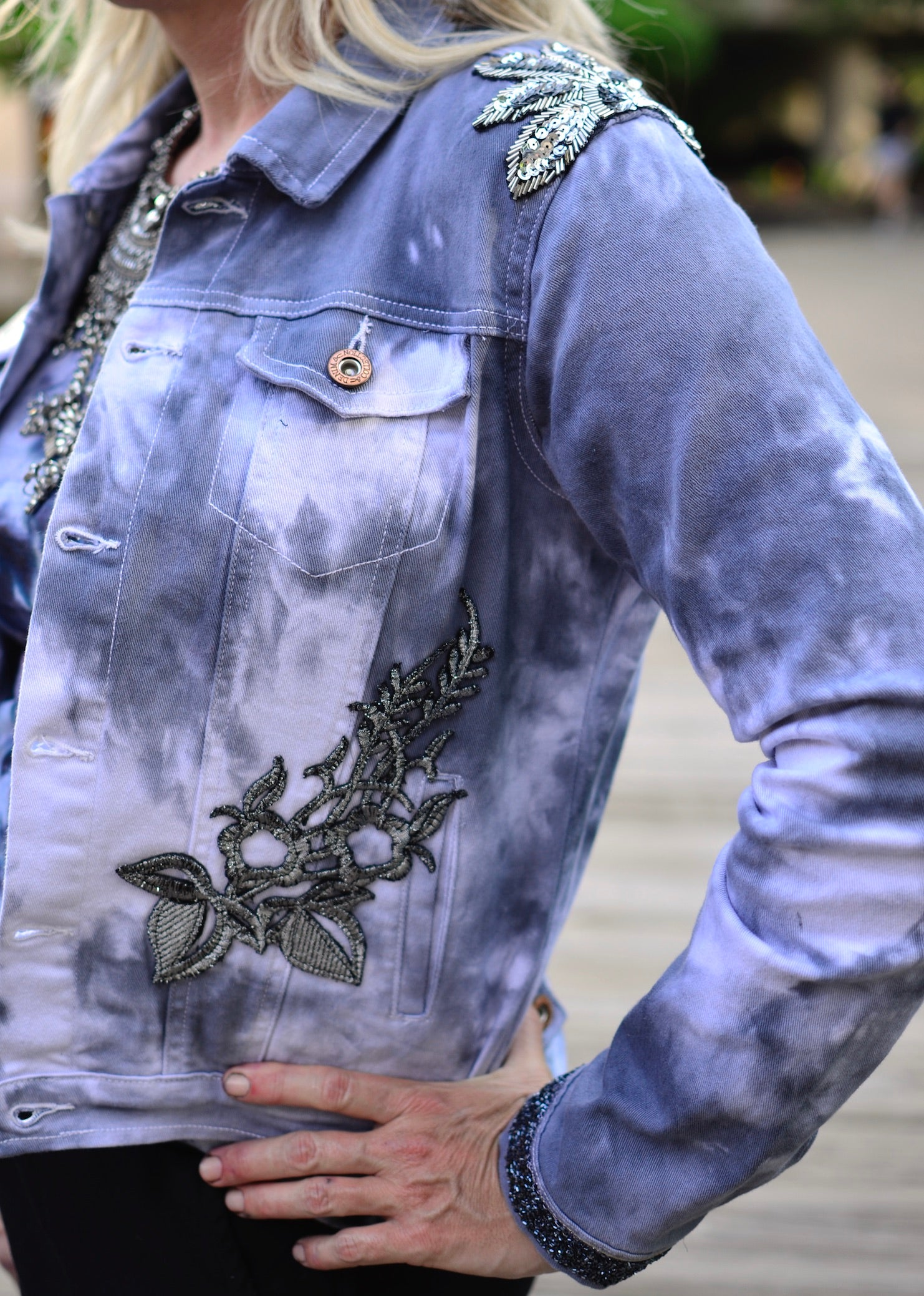 Medium Hand-Dyed Denim Jacket with Silver Accents -