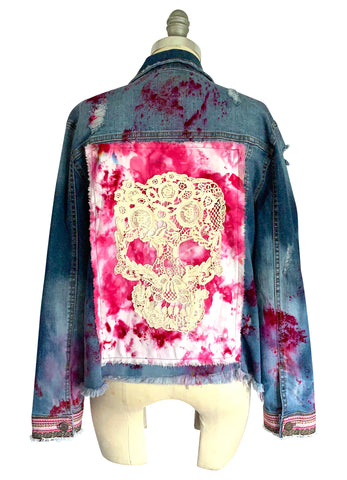 "3XL  Hand-Dyed Denim with Oversized Flower  - ""Fancy 2"""