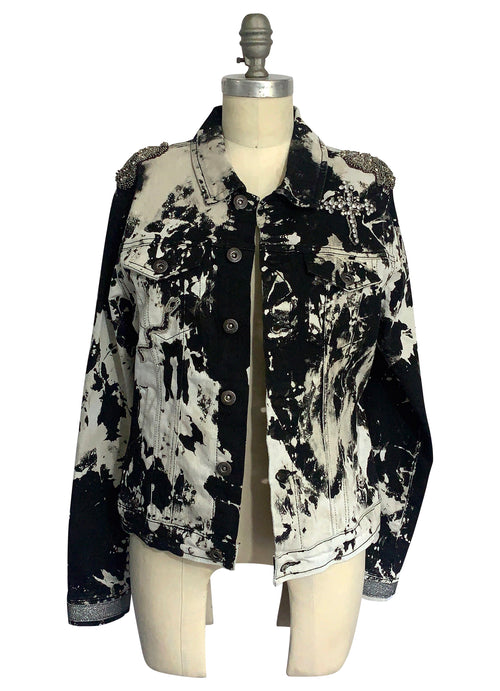 "Large Hand-Dyed Black and White Denim Jacket  - ""Saint and Sinner"""