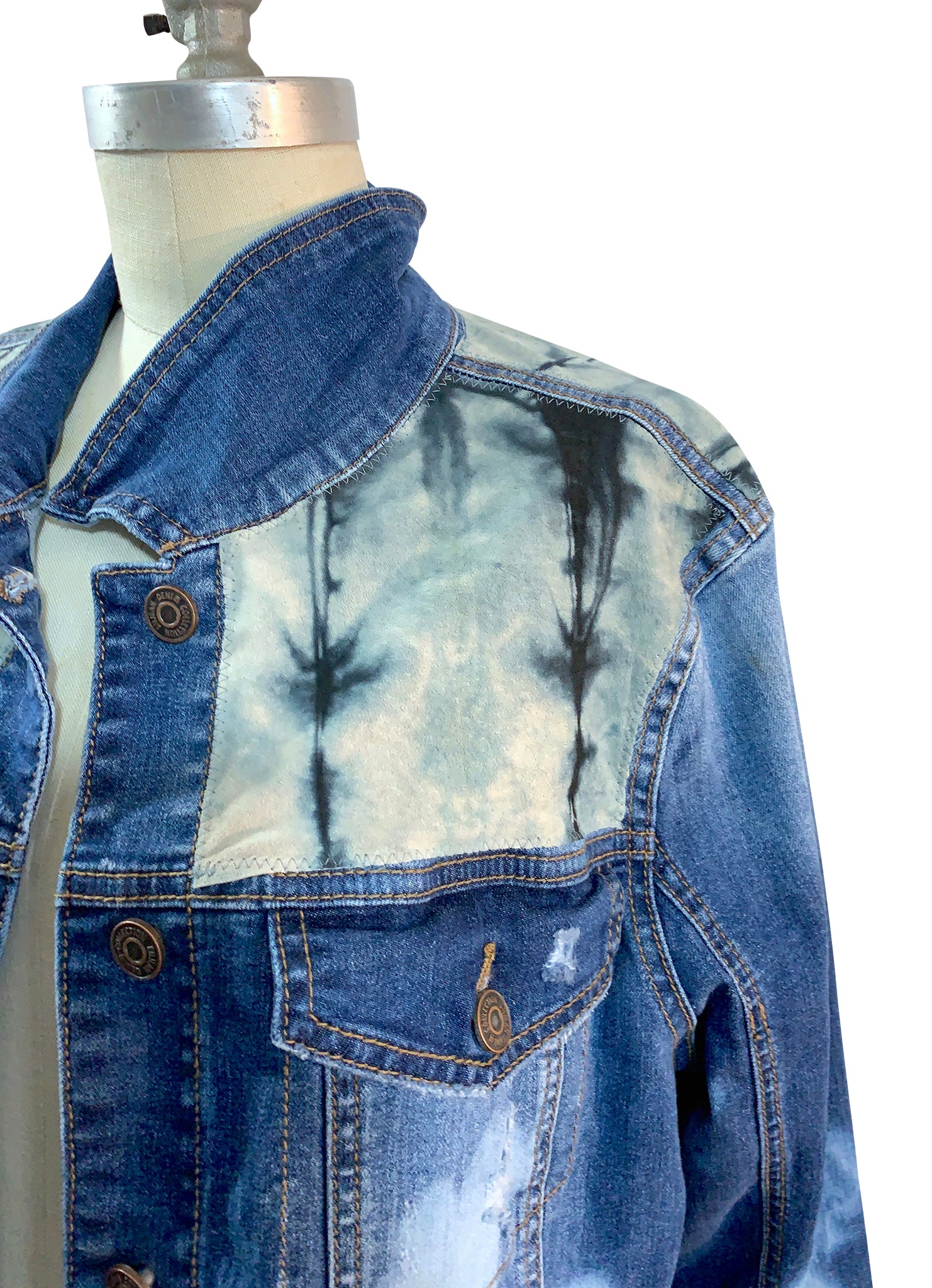 Gray Ombre Hand-Dyed Denim Jacket  -