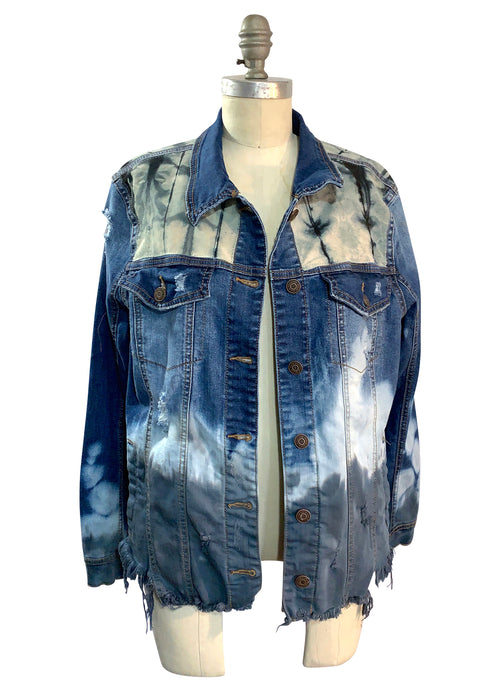 "Gray Ombre Hand-Dyed Denim Jacket  - ""Dipped"" (L/XL) - Top - Dyetology"