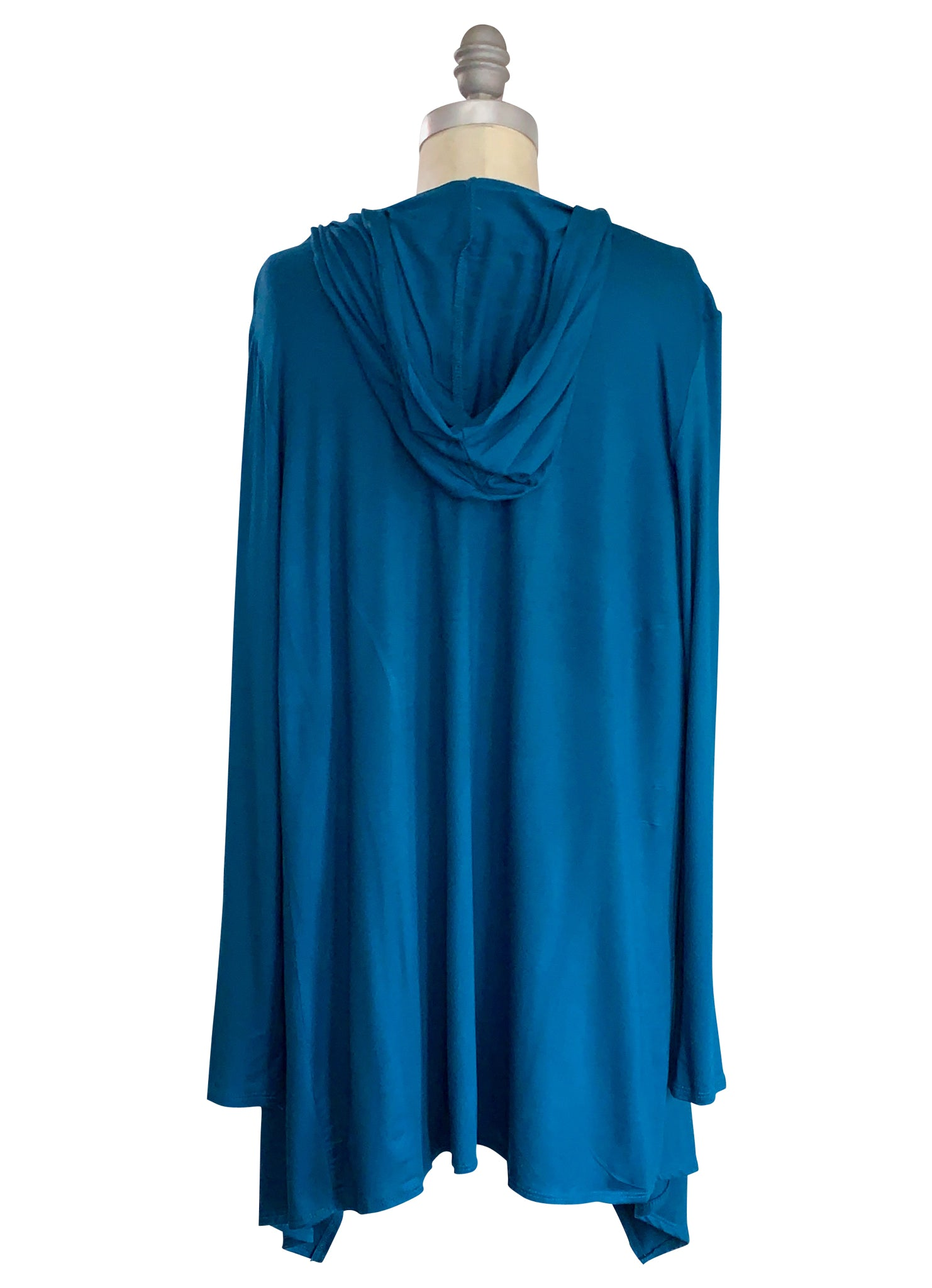 Drape Front Hoodie in Solid Teal - Top - Dyetology