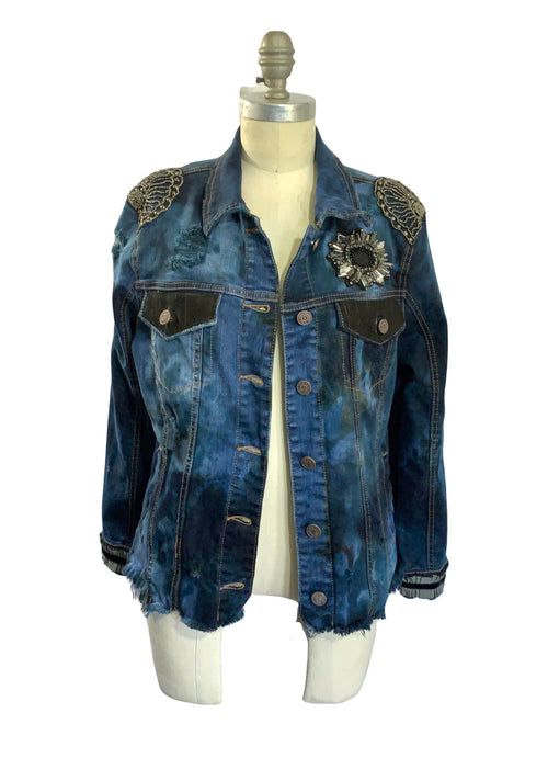 "Hand-Dyed Denim Jacket  - ""Fancy"" (S/M) - Top - Dyetology"