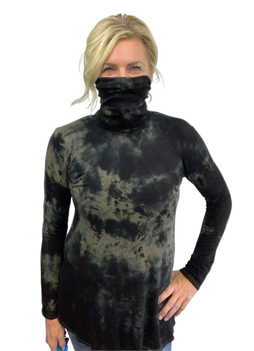 "Modern Turtleneck-Mask Tunic Top in "" Black & Light Olive"" - Top - Dyetology"