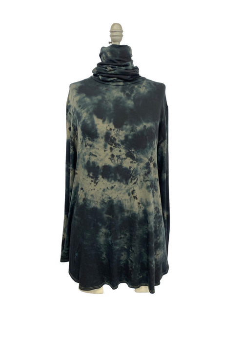 "Modern Turtleneck-Mask Tunic Top in "" Black & Light Olive"" - Dyetology"