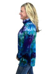 "Modern Turtleneck-Mask Tunic Top in "" Teals and Purples"" - Dyetology"