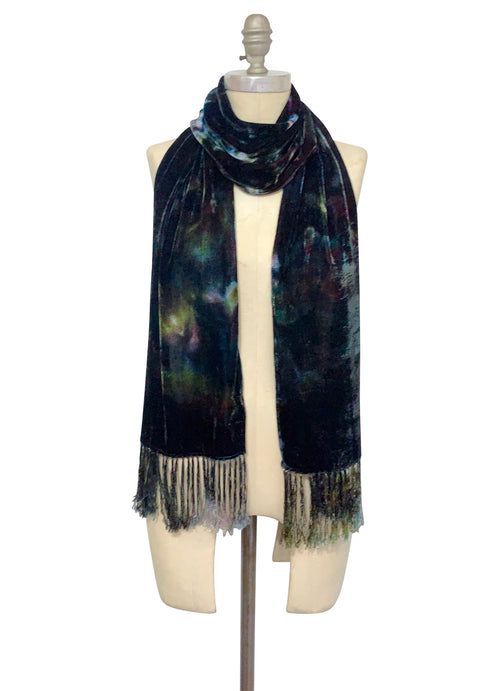 Silk Rayon Velvet Scarf with Fringe in A Night Out - Velvet Burnout Scarf - Dyetology