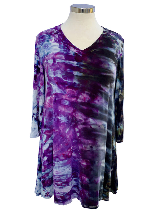 V Neck Tunic in Black Iris - Top - Dyetology