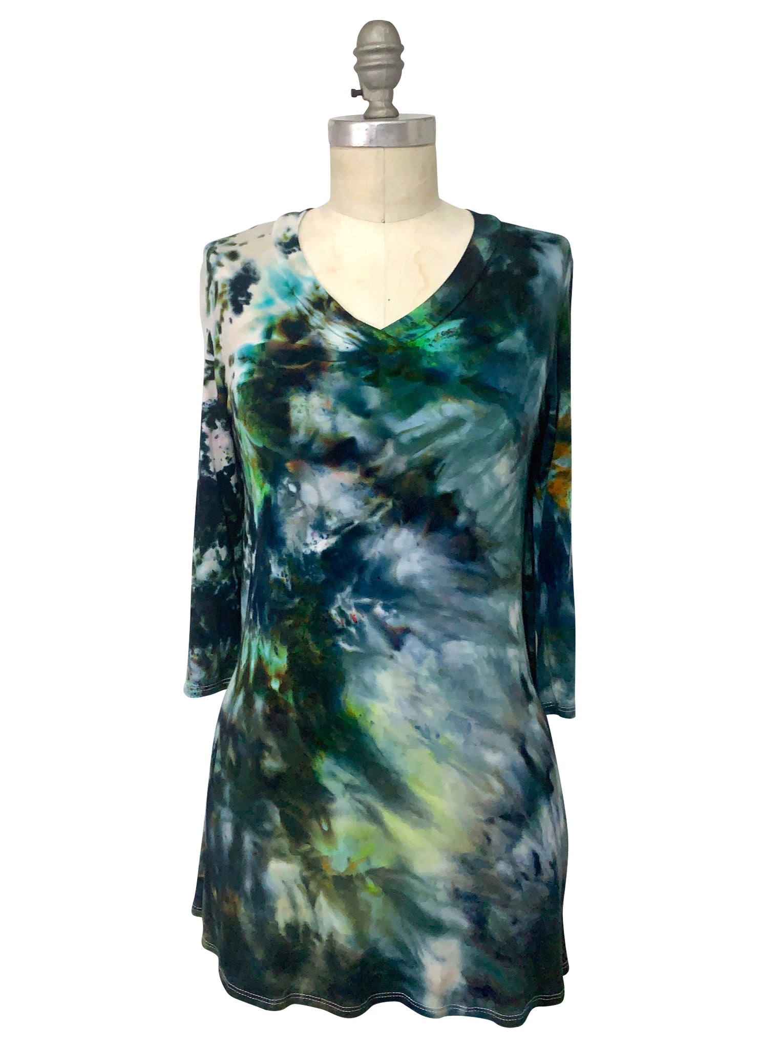 V Neck Tunic in Woodland Camo - Top - Dyetology