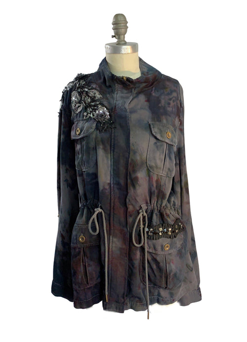 "X- Large Hand-Dyed Tencel Utility Jacket - ""Wall Flower"" - Dyetology"