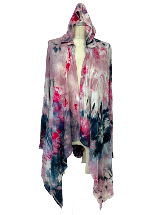 Hand Dyed Drape Front Jacket in White Rosé - Dyetology